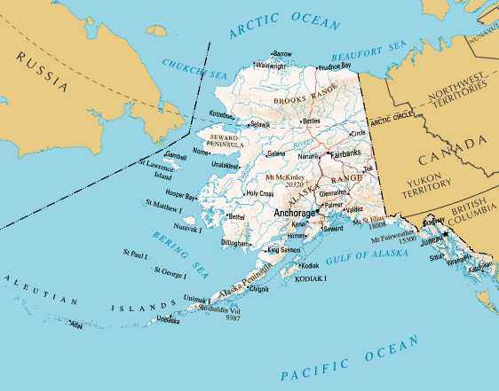ALASKA - Map of canada and alaska