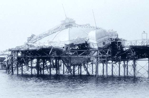 BRIGHTON SUSSEX SEASIDE RESORT ENGLAND | WEST PIER COLLAPSE AND FIRE