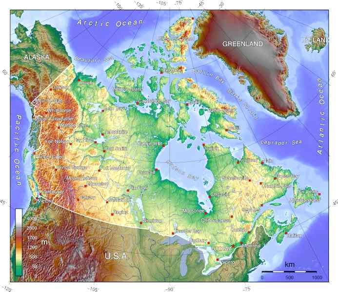 topographic world map. Topographic map of Canada