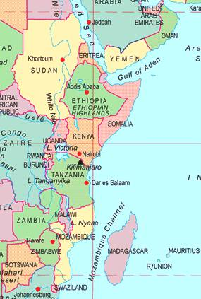East African City States And Southern Empires Meso America And - Map of eastern africa