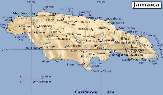 jamaica map caribbean sea