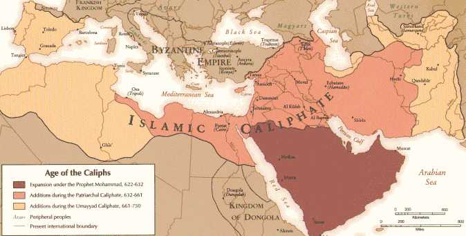 This map shows the expansion of the Islamic Caliphate.  In dark red, is territory conquered by Mohammed himself (from 622-632 he consolidated all of the Arabian Peninsula), in pink are the territories conquered in 632-661 by the Patriarchal Caliphate (all of the Levant, Egypt, present-day Libya, Iraq, Iran and present-day Georgia in the South Caucasus) and, in beige, the lands taken during the Umayyad Caliphate (661-750; much of Central Asia, including Samerkand, present-day Afghanistan, Pakistan, and all of the Maqreb of West Africa and Spain).