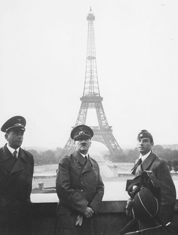 Hitler at the Eiffel Tower.
