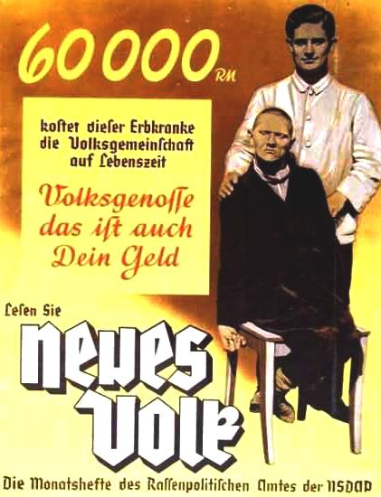 Eugenics, compulsory termination of mental and physically ill patients for economy Nazi Germany