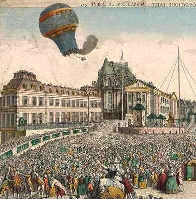 Image result for first demonstration of the hot air balloon in paris by the montgolfier brothers