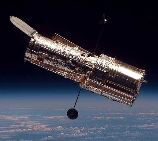 The Hubble Space Telescope orbiting above Earth