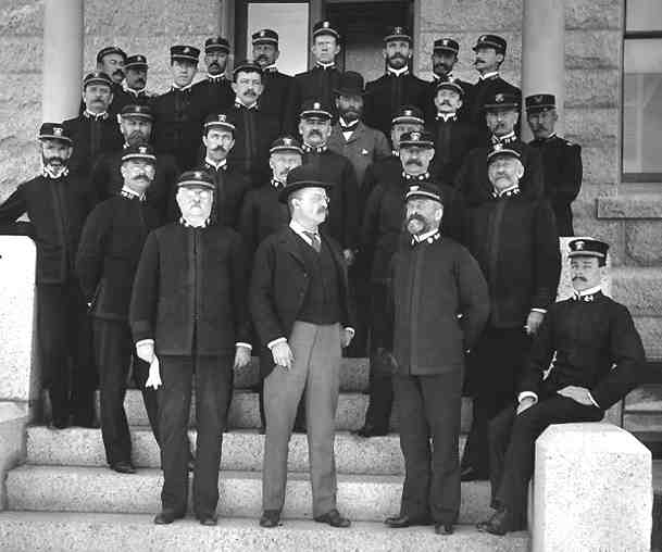 Assistant Secretary of the Navy Theodore Roosevelt (front center) at the Naval War College