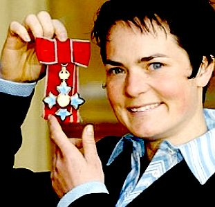 Dame Ellen MacArthur showing off her medals