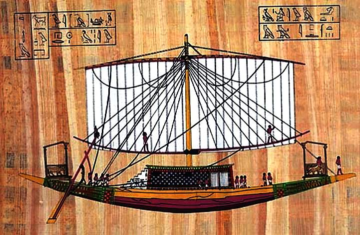 Egyptian royal barge, sails and oars for propulsion
