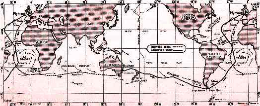 Sir Francis Chichester world route map gipsy moth circumnavigation august 1966 to may 1967