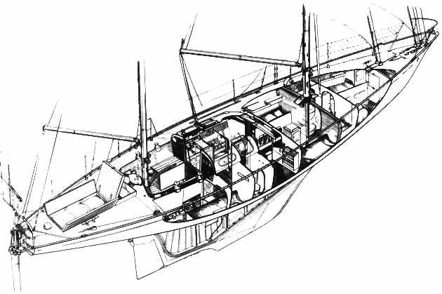 Gipsy Moth sailing boat cutaway drawing Sir Francis Chichester