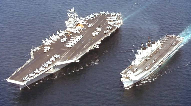 Aicraft Carriers USS John C Stennis and HMS Illustrious