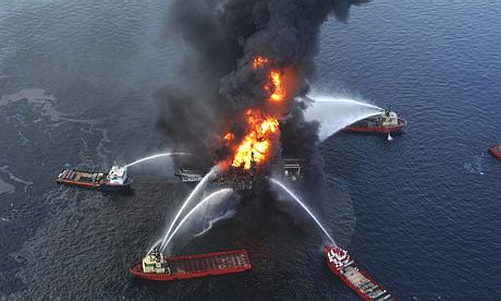 Aerial view of BP's oil rig Deepwater Horizon burning