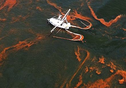 Shrimp boat collecting oil spilt from the Deepwater Horizon