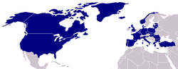 NATO countries are in blue