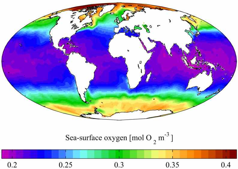 Oxygen wolrd distribution sea surface