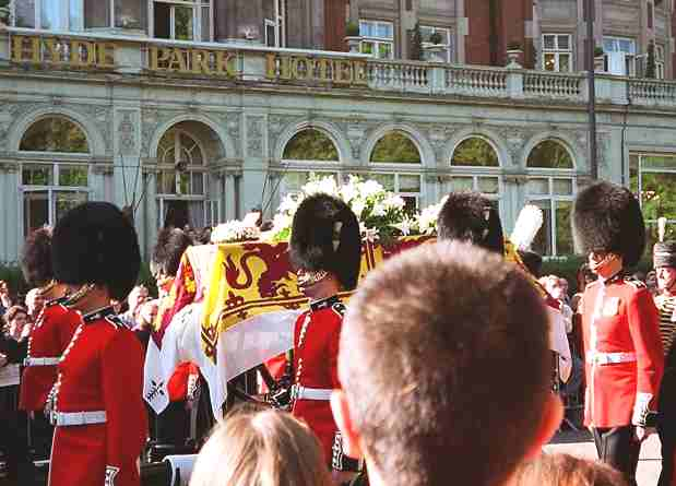 Princess Diana's coffin borne through the streets of London