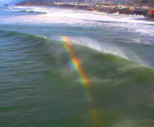 Rainbows may also form in the spray created by waves