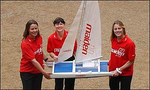 Tracy Edwards and crew with model catamaran