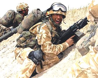 British army infantry wearing desert camouflage