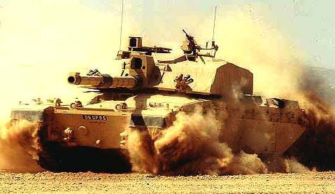 Challenger British Army main battle tank turning at speed