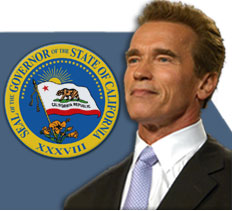 Governor's seal and image of Governor Schwarzenegger