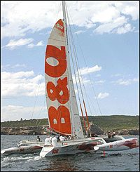 The B&Q trimaran in New Zealand