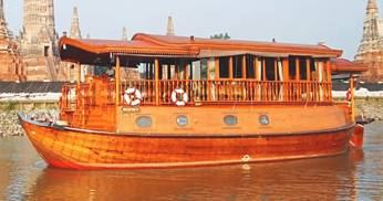 Replica antique rice-barge 'Montha' constructed of golden teak and mahogany Thailand