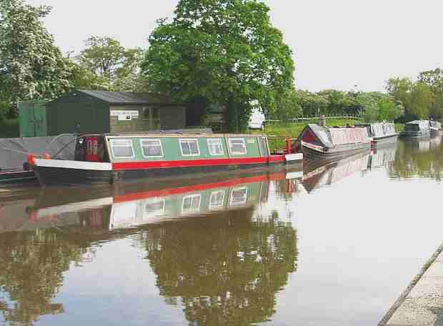 River barges or narrow boats moored along a canal