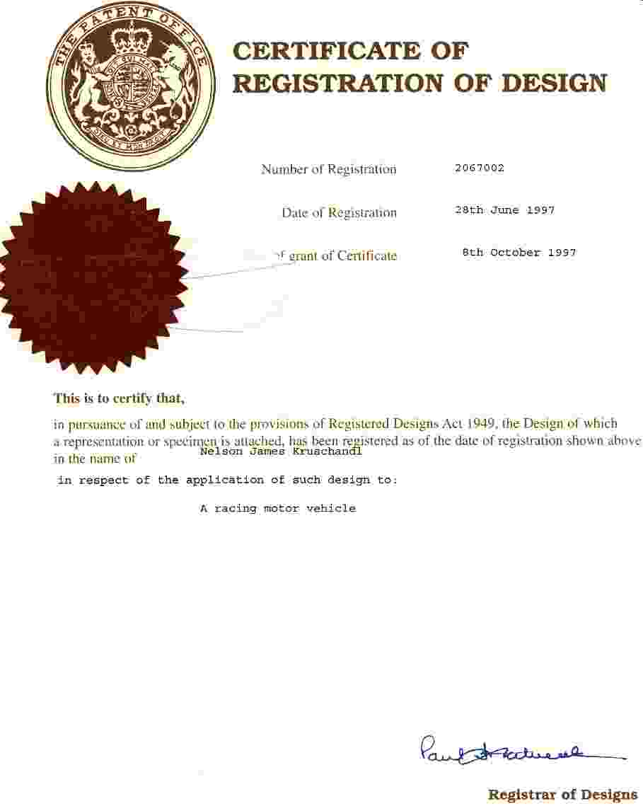 Patent Office certificate of registered design
