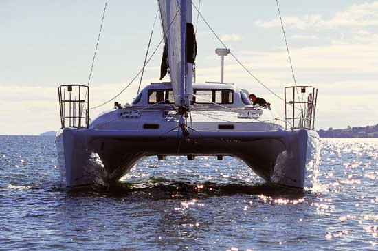 Traditional motor sailor catamaran