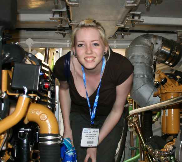 Christina below deck on a Police fast patrol launch Seawork 2007