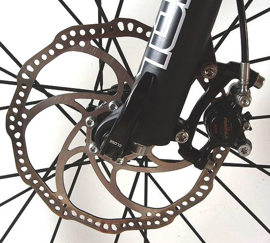 Modern bicycle disc brake and hydraulic braking calliper