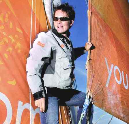 Ellen Macarthur in her element sailing B&Q catamaran