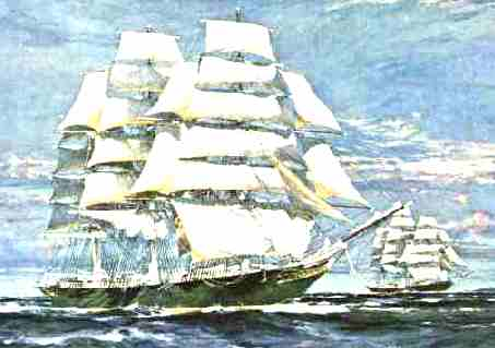 The Cutty Sark clipper ship racing Thermopylae