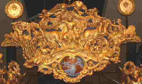 A very elaborate wooden carving from the stern of a ship