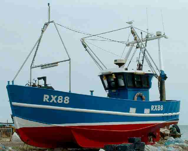 Classic beach launched fishing boat. Fishery: Hastings Fishing Fleet Pelagic