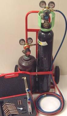 Gas welding bottles, oxygen and acetylene