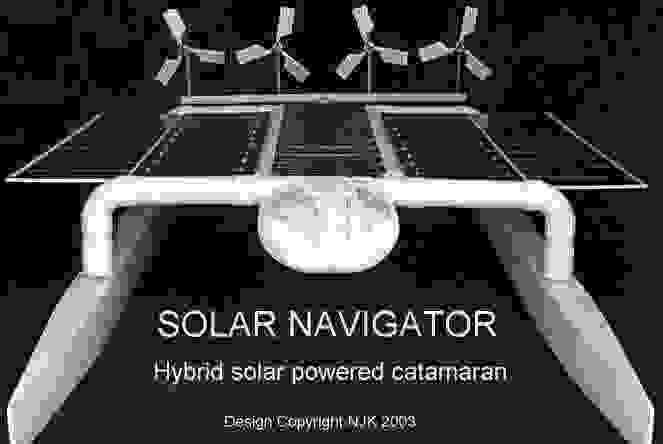 Solar powered hybrid catamaran