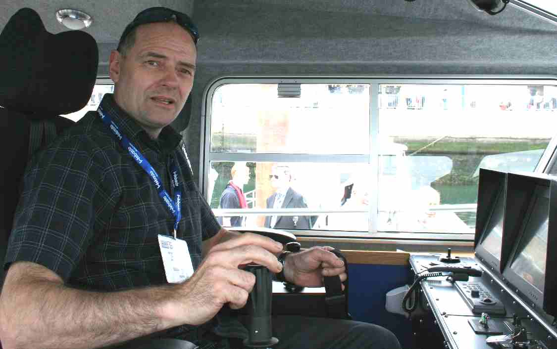 Nelson at the helm of a Police fast patrol launch Seawork 2007