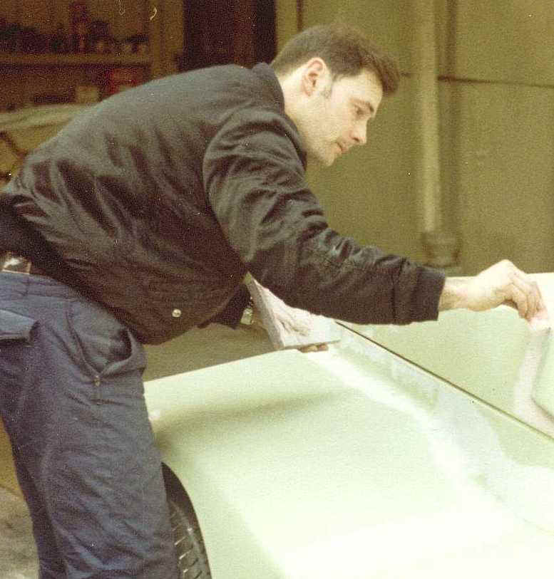 Nelson Kruschandl building his first car - the 'Borzoi' joystick prototype