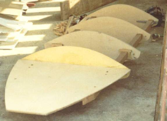 Timber frame and plywood formers for a prototype runabout boat