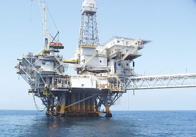Oil rig offshore Califrornia