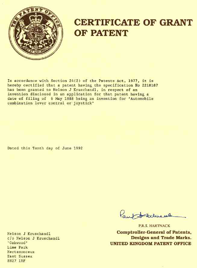 Certificate of Grant of Patent to Nelson Kruschandl for car joystick controls