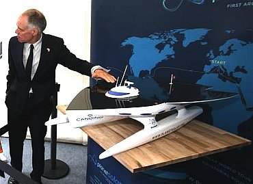 Final PlanetSolar catamaran design, model exhibit Hamburg