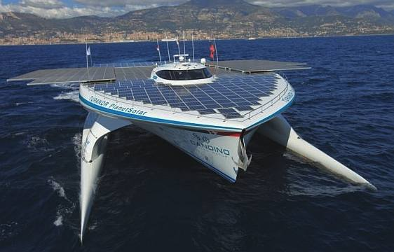 Turanor Planet Solar catamaran front view