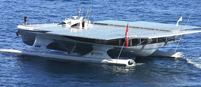 Turanor Planet Solar catamaran side and back