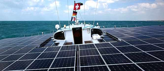 Planet Solar catamaran deck horizon Abu Dhabi