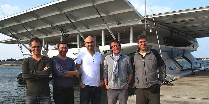 Planet Solar catamaran January 2012 Abu_dhabi, wings extended