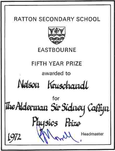 Physics prize certificate Ratton Secondary School, Eastbourne, Nelson Kruschandl